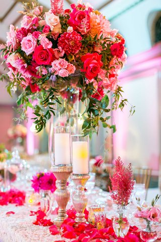 texture-table-linen-flower-petals-candles-bud-vases-tall-centerpiece-pink-rose-pink-dahlia