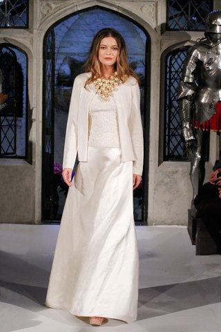 oleg-cassini-spring-2018-wedding-dress-with-sweater-and-jacket-satin-skirt-cashmere-knit