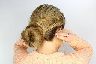 wedding-day-hairstyle-fishtail-braid-around-bun