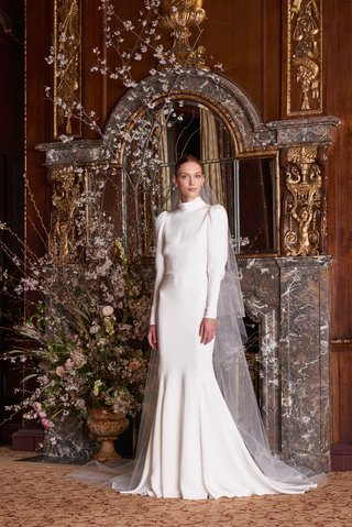 bardot-by-monique-lhuillier-spring-2019-crepe-puffy-long-sleeve-high-neck-sheath-gown-open-back