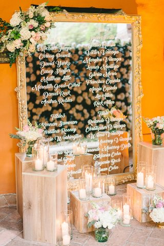 wedding-reception-mirror-with-table-numbers-seating-chart-white-hydrangea-pink-flowers-greenery