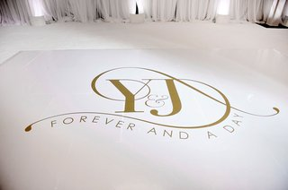 wedding-reception-dance-floor-white-with-gold-monogram-initials-forever-and-a-day-ideas