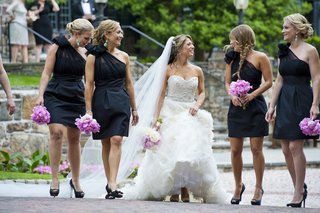 bridesmaids-in-one-shoulder-lynn-lugo-black-dresses-bride-in-strapless-lazaro-gown-peony-bouquets