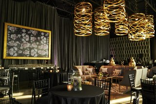 black-and-gold-lounge-area-for-wedding-cocktail-hour-dark-and-moody-setting