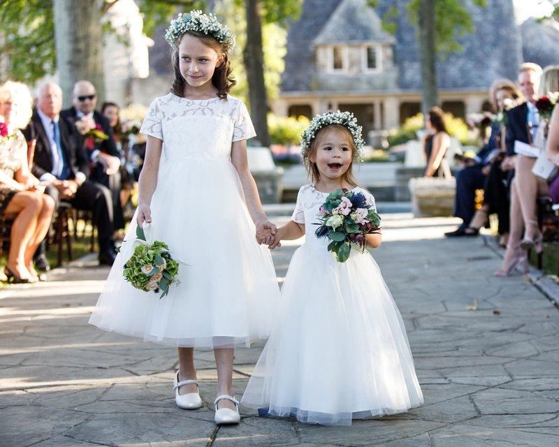 Flower Girls in Baby's Breath Crowns