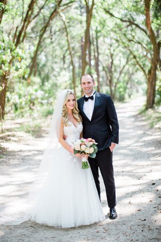 southern-destination-wedding-couple-bride-in-mark-ingram-atelier-wedding-dress-groom-in-tuxedo-tie