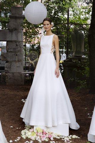 lela-rose-fall-2018-swiss-dot-silk-jacquard-full-gown-with-bateau-neckline-laced-grosgrain-detail