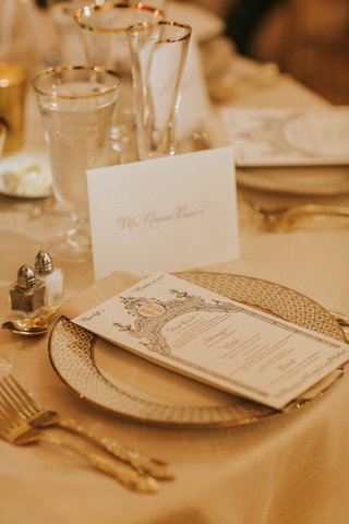 wedding-reception-place-setting-white-and-gold-tablescape-gold-rim-glassware-ornate-menu-gold-forks