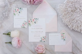 wedding-invitation-suite-light-pink-blush-envelope-with-white-stationery-pink-flower-print-in-corner