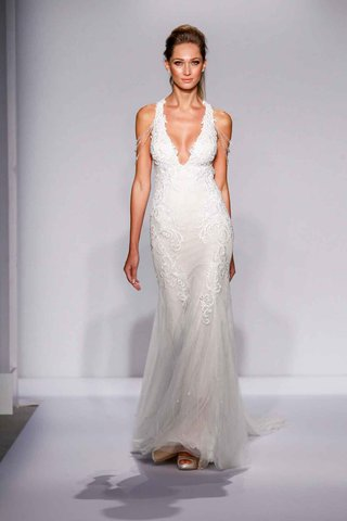 pnina-tornai-for-kleinfeld-2016-v-neck-wedding-dress-with-draped-crystal-shoulders