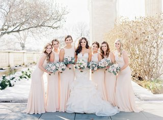 bridesmaids-in-champagne-bridesmaid-dresses-high-neck-bride-in-allure-bridals-mermaid-gown-wedding