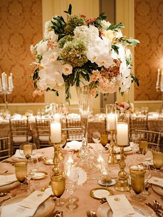 wedding-reception-tall-centerpiece-orchid-rose-hydrangea-lily-gold-candle-votives