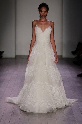 jim-hjelm-spring-2016-spaghetti-strap-a-line-wedding-dress-with-lace-stripes