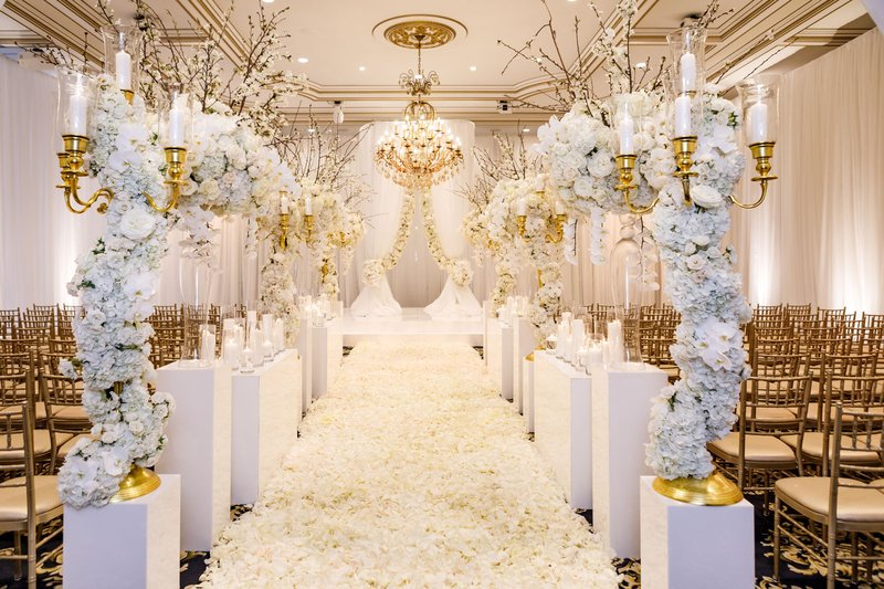 White and Gold Ceremony Decorations
