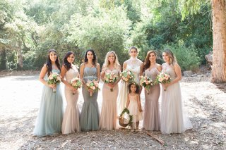 bridesmaids-in-light-grey-blue-pink-purple-champagne-dresses-for-wedding-santa-barbara-strapless