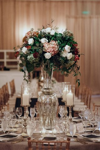 suzanna-villarreal-and-alex-wood-la-dodgers-wedding-reception-centerpiece-mercury-glass-fall-decor