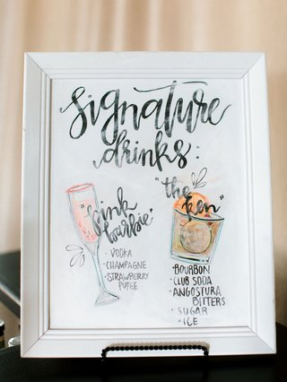 framed-signature-drink-sign-with-drawings-of-drink-and-calligraphy-champagne-and-bourbon