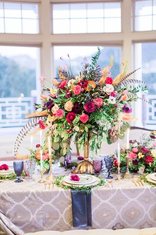 colorful-flower-arrangement-with-pheasant-feathers