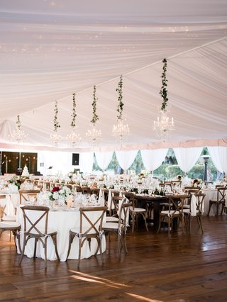 wedding-reception-tent-wood-floor-chandeliers-x-back-wood-chairs-rustic-refined-elegant-lowcountry