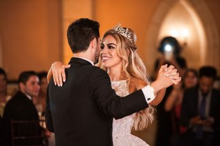 bride-in-hayley-paige-wedding-dress-groom-in-tuxedo-second-tiara-first-dance-ballroom