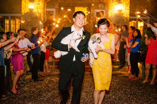 bride-and-groom-leaving-reception-with-puppies