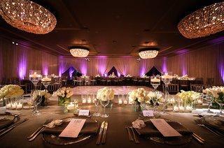wedding-reception-fairmont-miramar-hotel-bungalows-ballroom-purple-lighting-and-white-flowers-grey