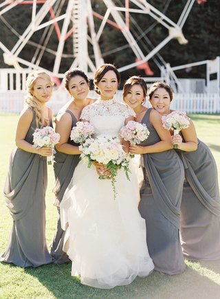 bridesmaids-in-gray-long-bridesmaid-dresses-at-calamigos-ranch-ferris-wheel