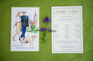 watercolor-save-the-date-for-military-wedding-with-couple-walking-dog