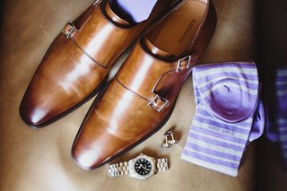 grooms-brown-shoes-hugo-boss-purple-and-white-striped-socks-watch-cuff-links