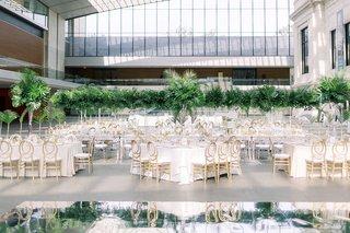 wedding-reception-cleveland-museum-of-art-green-tropical-leaves-jungle-mirror-dance-floor