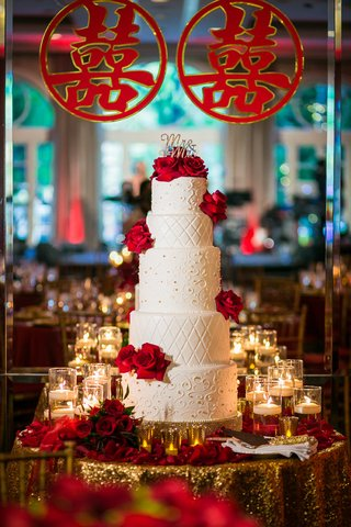 five-tier-cake-with-scrollwork-and-quilted-pattern-red-roses