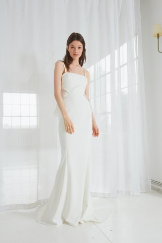 keana-by-amsale-spring-2018-crepe-fit-to-flare-gown-with-silk-georgette-ruffle-detail-and-open-back