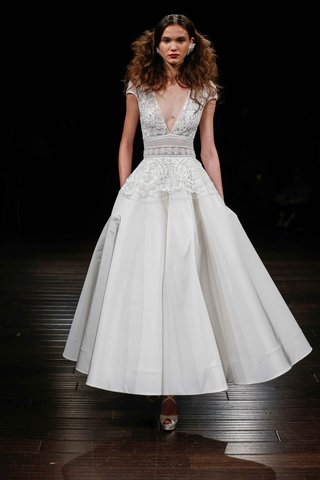 naeem-khan-bridal-fall-2017-marseille-deep-v-neck-wedding-dress-cap-sleeves-tea-length-skirt