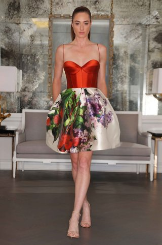 romona-keveza-short-wedding-dress-with-red-bodice-and-flower-print-short-skirt