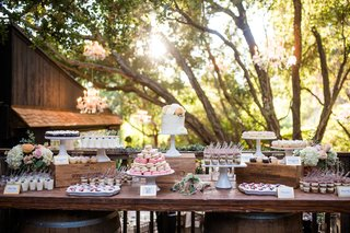 wedding-reception-dessert-table-small-wedding-cake-cupcakes-parfait-macaron-sweets-table