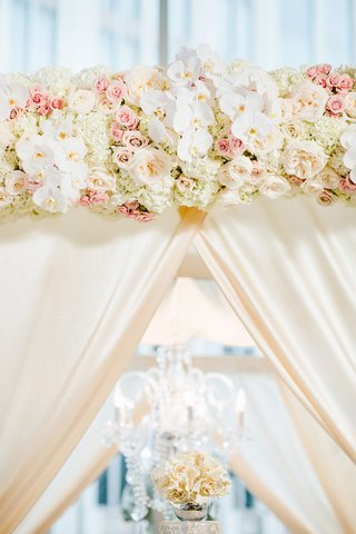 wedding-ceremony-floral-arch-with-white-orchid-ivory-hydrangea-and-pink-rose-flowers-and-drapery