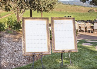 wedding-outdoor-reception-cocktail-hour-gold-frame-seating-charts-side-by-side-on-grass