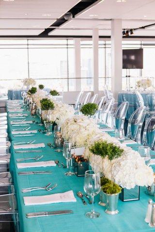 detriot-lions-quarterback-matthew-stafford-rehearsal-dinner-decor-tiffany-blue-linens-white-flowers