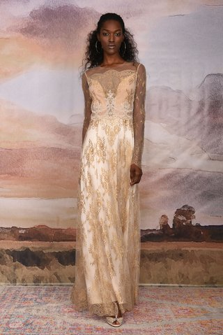 claire-pettibone-vagabond-collection-2018-marrakech-long-sheer-sleeve-wedding-dress-gold-lace-pink