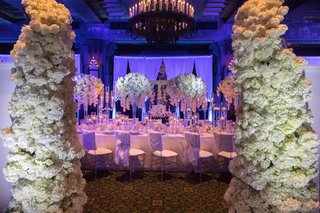wedding-reception-inspiration-shoot-white-table-linens-chair-covers-flowers-white-rose-hydrangea