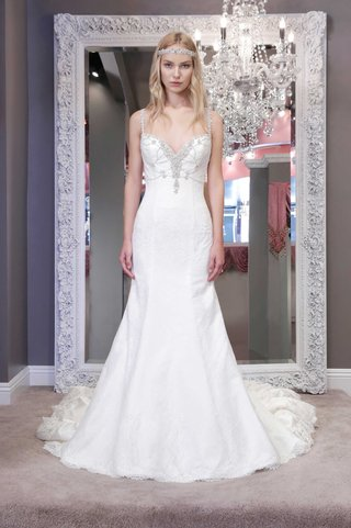 winnie-chlomin-2016-fit-and-flare-wedding-dress-with-jeweled-bodice-and-spaghetti-straps