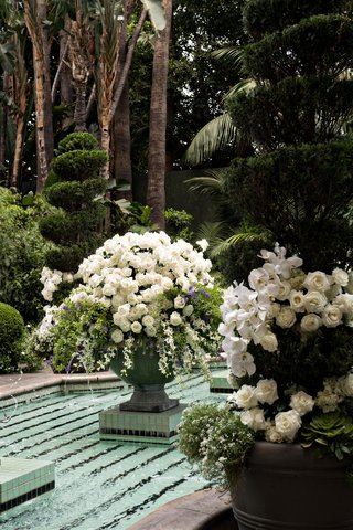 wedding-reception-four-seasons-hotel-los-angeles-at-beverly-hills-white-rose-orchid-flowers-greenery