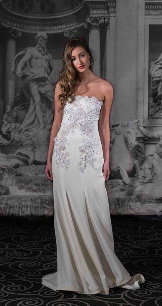 sarah-jassir-la-dolce-vita-2016-strapless-wedding-dress-with-silver-embellishments