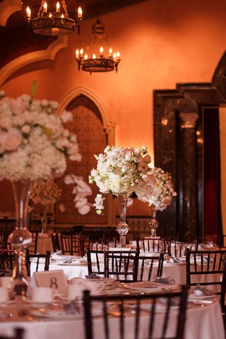 wedding-reception-ballroom-grand-del-mar-tall-centerpiece-white-cream-pink-rose-hydrangea-orchid