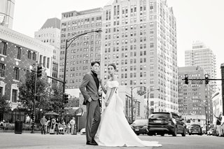 styled-shoot-groom-in-grey-tuxedo-bride-in-monique-lhuillier-trumpet-gown