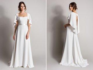 white-sheath-wedding-dress-with-cape