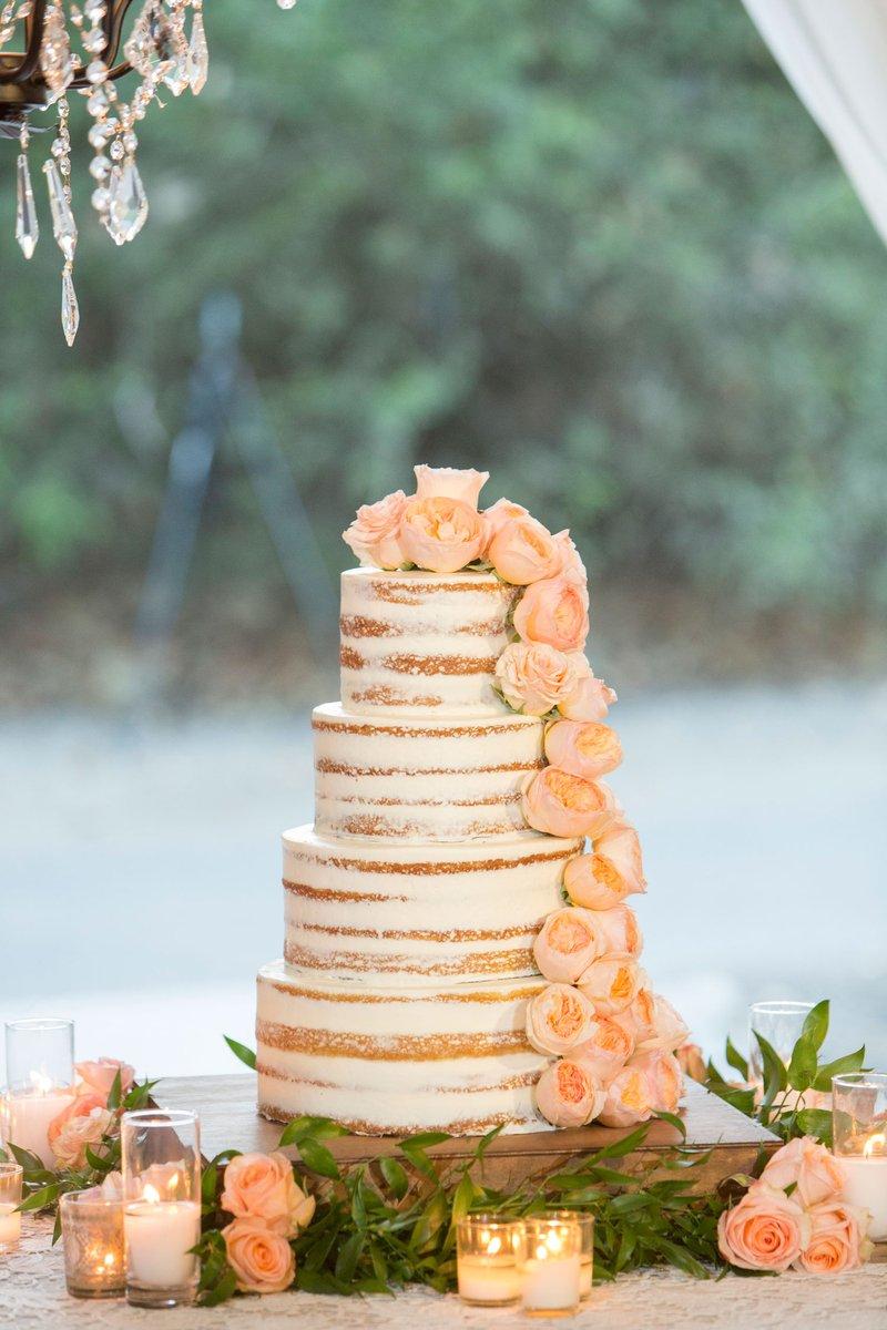 Semi-Naked Cake with Garden Roses