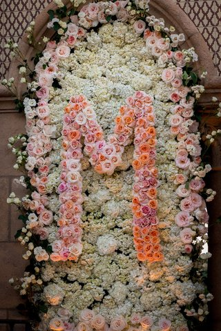 wedding-ceremony-flower-wall-panel-with-rose-initial-and-hydrangea-flowers