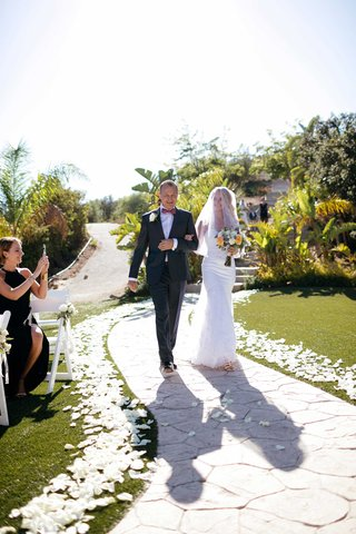 father-daughter-processional-father-and-daughter-father-of-the-bride-petal-lined-aisle-guest-phone