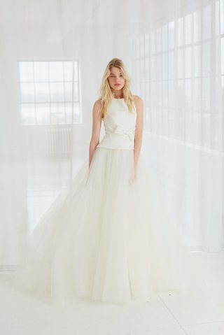 miller-by-amsale-spring-2018-silk-faille-high-neck-bodice-ball-gown-bow-at-waist-and-tulle-skirt